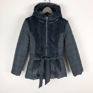 Amy Byer Gray Faux Fur Zip Up Puffer Jacket 14 EUC